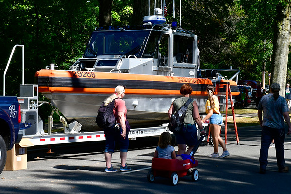 9/21/2019 Mike Orazzi | StaffrA coast guard boat on display during Saturday's Mum Festival on Memorial Boulevard in Bristol.