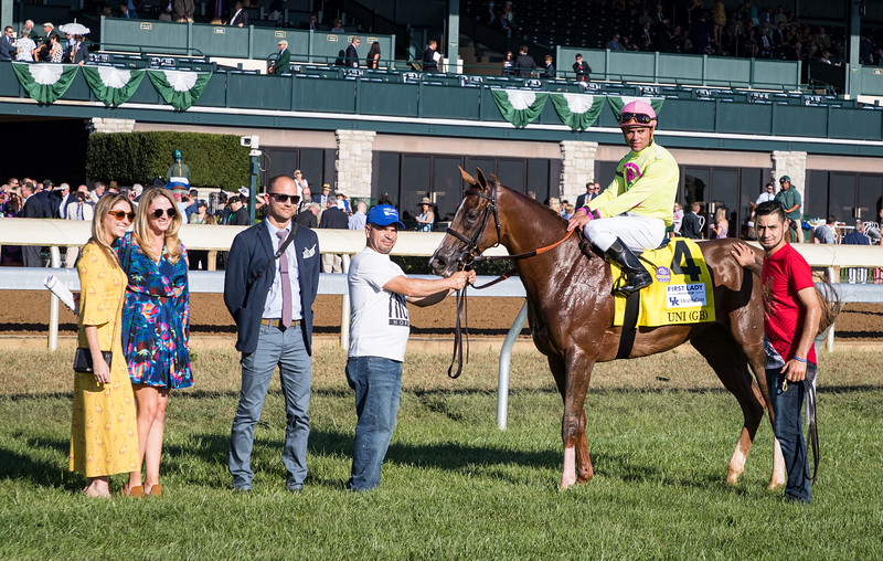 """Uni (More Than Ready) wins the First Lady (G1) a """"Win and You're In"""" Breeders' Cup Filly and Mare Turf Division at Keeneland on 10.5.2019. Joel Rosario up, Chad Brown trainer, Robert LaPenta, Michael Dubb, Head of Plains Partners, and Bethlehem Stables owners."""