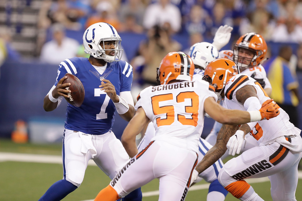 . Indianapolis Colts quarterback Jacoby Brissett (7) during the first half of an NFL football game against the Cleveland Browns in Indianapolis, Sunday, Sept. 24, 2017. (AP Photo/Darron Cummings)