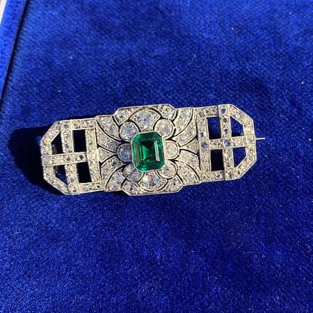 3.05ctw Art Deco Emerald and Diamond Brooch