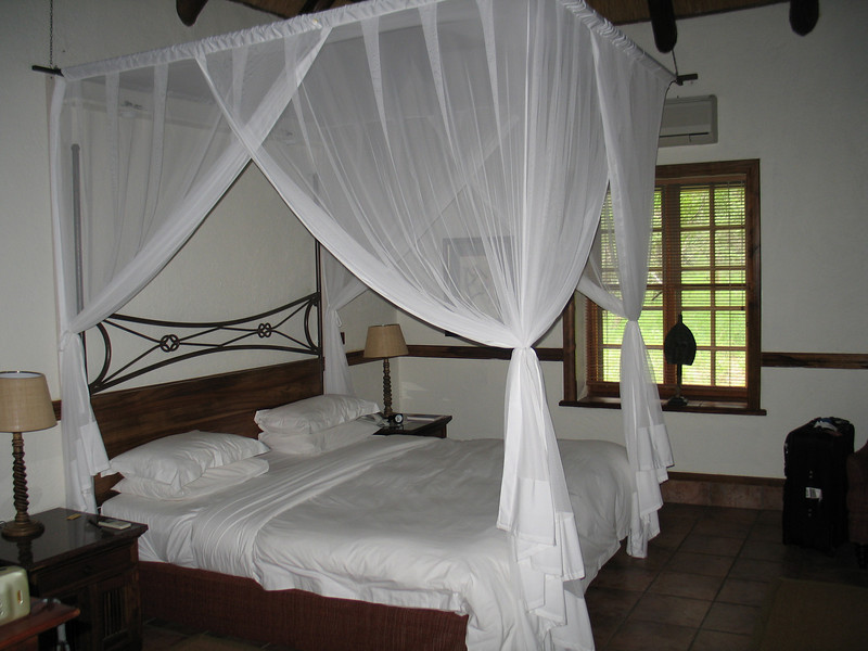 Although this looks romantic in our chalet #20, this is actually mosquito netting which worked pretty well.