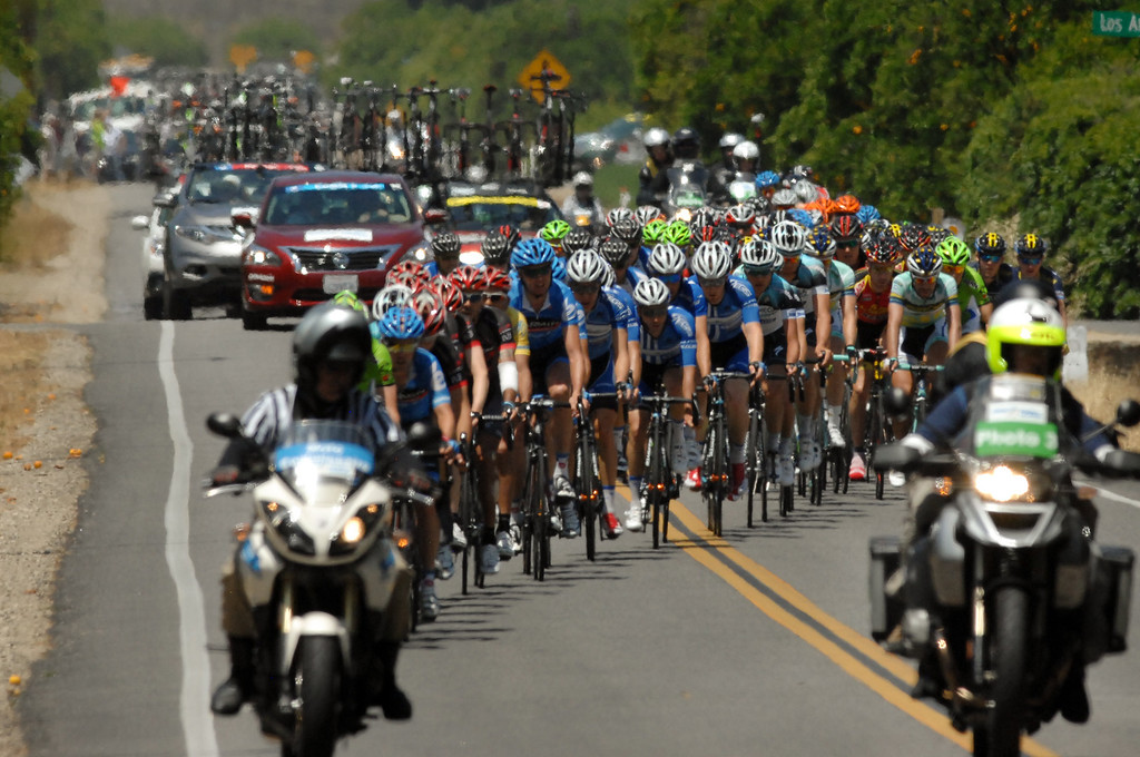 . Riders make their way up Sespe Street near Fillmore during Stage 4 of the Amgen Tour of California which started in Santa Clarita and ended in Santa Barbara, Wednesday, May 15, 2013. (Michael Owen Baker/Staff Photographer)