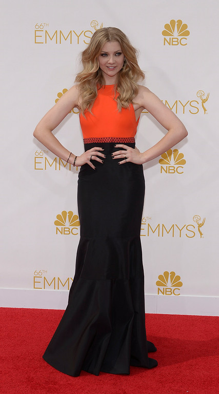 . Natalie Dormer on the red carpet at the 66th Primetime Emmy Awards show at the Nokia Theatre in Los Angeles, California on Monday August 25, 2014. (Photo by John McCoy / Los Angeles Daily News)
