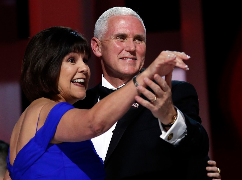 . Vice President Mike Pence dances with his wife Karen at the Liberty Ball, Friday, Jan. 20, 2017, in Washington. (AP Photo/Alex Brandon)
