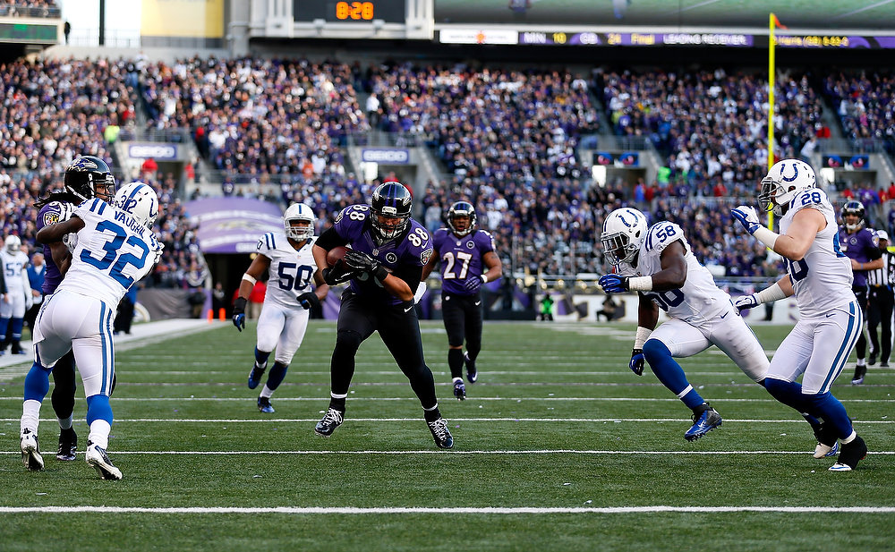 . Dennis Pitta #88 of the Baltimore Ravens scores a 20-yard touchdown reception in the third quarter against Moise Fokou #58 of the Indianapolis Colts during the AFC Wild Card Playoff Game at M&T Bank Stadium on January 6, 2013 in Baltimore, Maryland.  (Photo by Rob Carr/Getty Images)