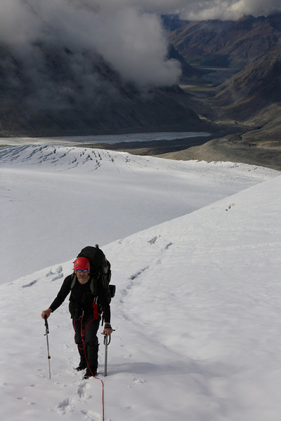 End running a slot on an unnamed glacier above the Lyman Fork of the Big River - Revelation Mountains, Alaska.