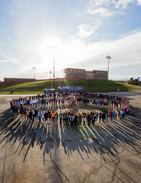 2018_03_06, Human Peace Sign, Katy, Miller Career & Technology Center, Texas