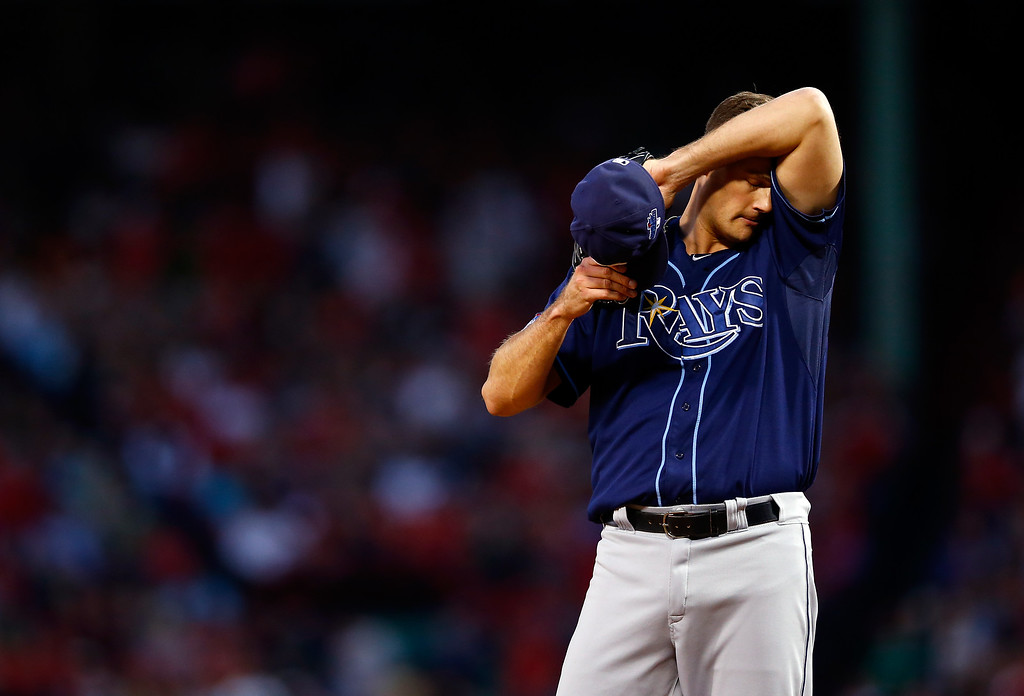 . BOSTON, MA - OCTOBER 04:  Jamey Wright #35 of the Tampa Bay Rays looks on against the Boston Red Sox during Game One of the American League Division Series at Fenway Park on October 4, 2013 in Boston, Massachusetts.  (Photo by Jared Wickerham/Getty Images)