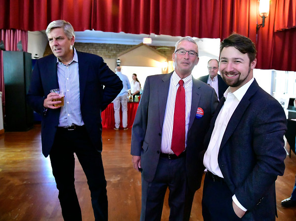 9/6/2019 Mike Orazzi | StaffrFormer Republican candidate for governor Bob Stefanowski with David Radcliffe and Dante Tagariello during the 138th Annual Crocodile Club Dinner at Lake Compounce on Friday.