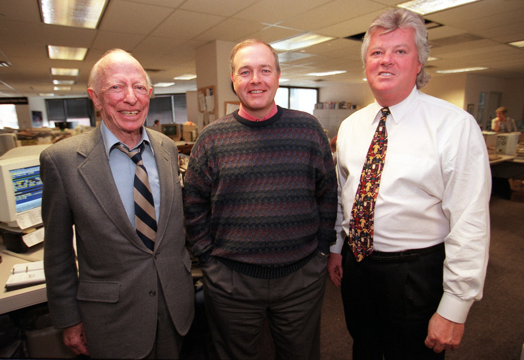 . Richard Scudder, (L) Chairman of the Board for MediaNews Corp.; William Dean Singleton, CEO, vice-president of MediaNews Corp.; Gerald Grilly, Publisher pose for pictures after the announcement that The Denver Post won the Pulitzer Prize, April 11, 2000 for breaking news in the Columbine tragedy. HELEN H. DAVIS / The Denver Post