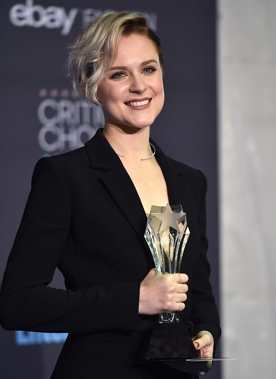 """. Evan Rachel Wood poses in the press room with the award for best actress in a drama series for \""""Westworld\"""" at the 22nd annual Critics\' Choice Awards at the Barker Hangar on Sunday, Dec. 11, 2016, in Santa Monica, Calif. (Photo by Jordan Strauss/Invision/AP)"""