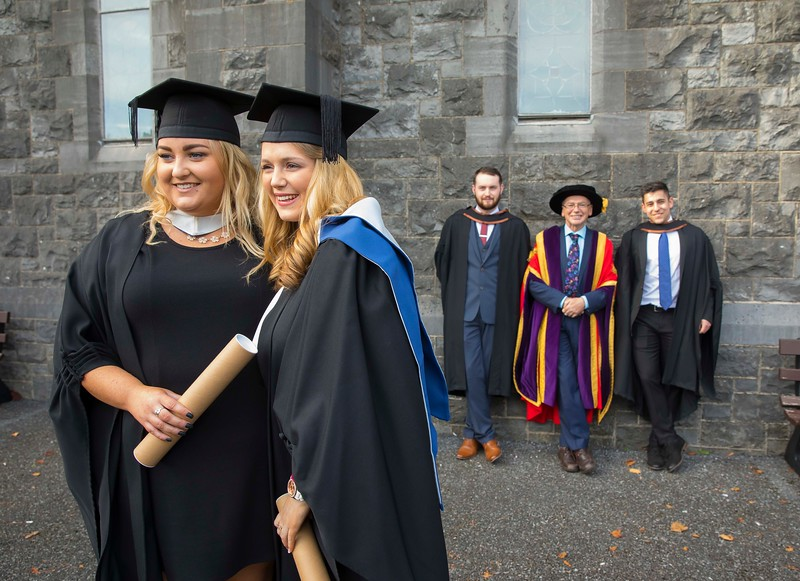 03/11/2016. Waterford Institute of Technology (WIT) Conferring Ceremonies November 2016:  Pictured are Nicola Marnell, Kilmanagh, Kilkenny and Shavanna Morris of Kilmore. Co. Wexford who Graduated B.A. in Applied Social Studies in Social Care, with Joseph Dolan from  Galway who graduated BA (Hons) in Criminal Justice,  Studies, Prof. Willie Donnelly, President of WIT and Erik Horvath from Kilkenny City who graduated BA (Hons) in Criminal Justice Studies. Picture: Patrick Browne