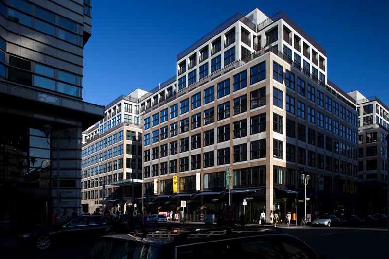 Modern building on the corner of Friedrichstrasse and Taubenstrasse, Berlin, Germany
