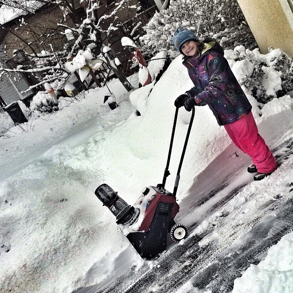 One of the most important gifts a parent can give a child is lessons on how to safely shovel and/or snow blow your driveway. #childlaborFTW