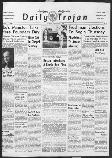 Daily Trojan, Vol. 46, No. 11, October 01, 1954
