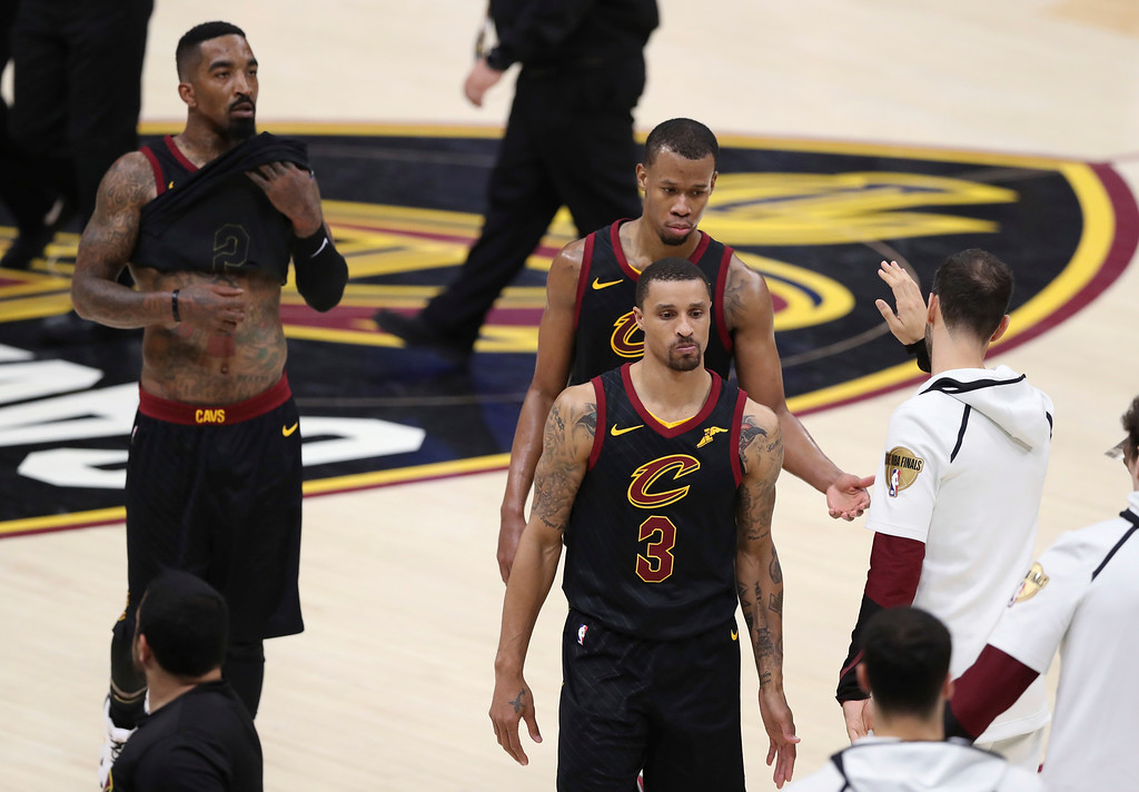 . Cleveland Cavaliers\' George Hill (3) leaves the court after Game 3 of basketball\'s NBA Finals against the Golden State Warriors, Wednesday, June 6, 2018, in Cleveland. The Warriors defeated the Cavaliers 110-102 to take a 3-0 lead in the series. (AP Photo/Carlos Osorio)