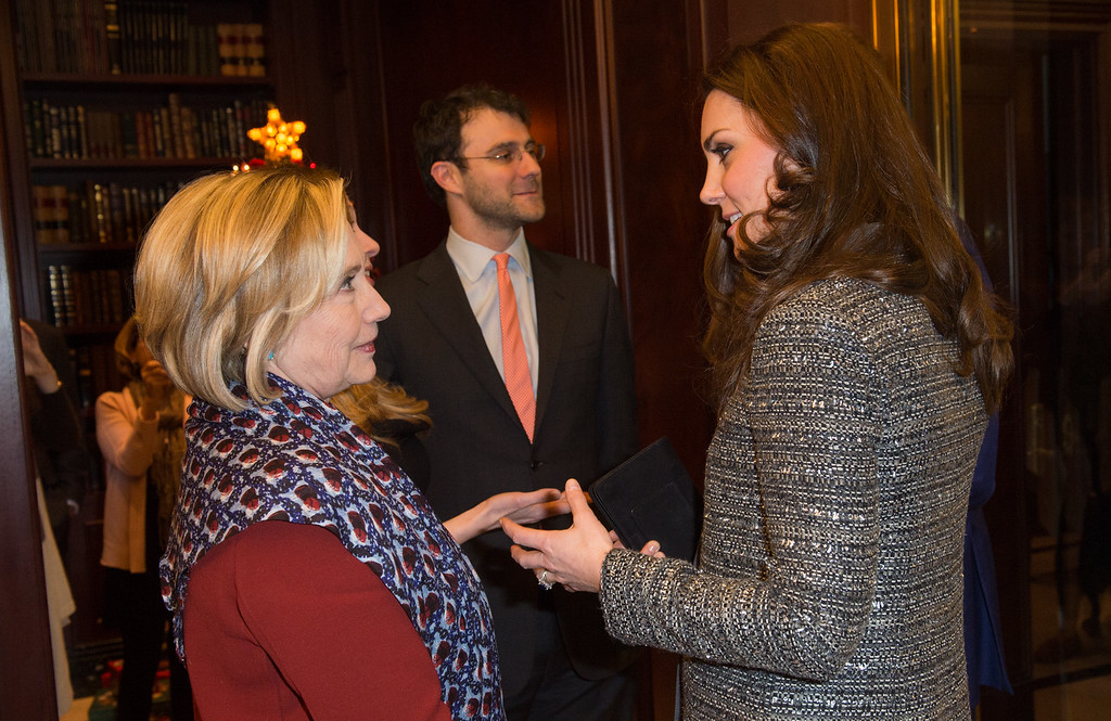 . Catherine, Duchess of Cambridge (R) meets former United States Secretary of State, Hillary Clinton during a conservation reception at British Consul General\'s Residence on December 8, 2014 in New York City.  (Photo by Samir Hussein - Pool/Getty Images)