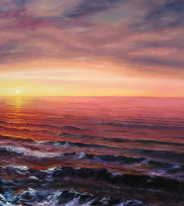 """Sunset at the sea"" (oil on canvas) by Dinara Aristo"
