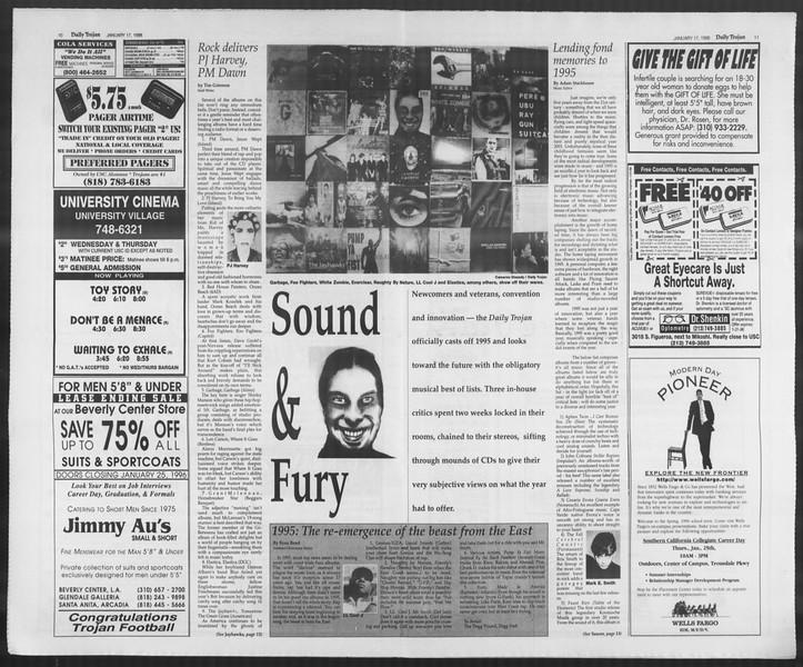 Daily Trojan, Vol. 127, No. 3, January 17, 1996