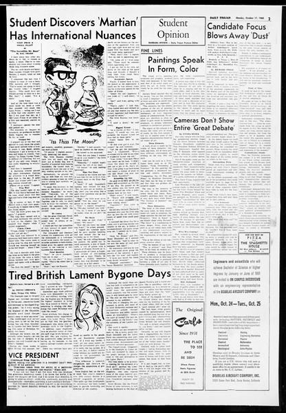 Daily Trojan, Vol. 52, No. 21, October 17, 1960