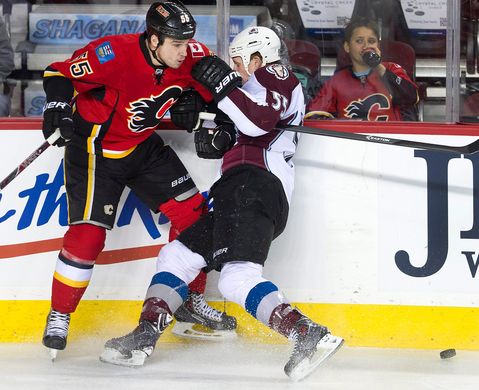 . Colorado Avalanche\'s Cody McLeod, right, collides with Calgary Flames\' Shane O\'Brien during the first period of an NHL hockey game, Friday, Dec. 6, 2013 in Calgary, Alberta. (AP Photo/The Canadian Press, Larry MacDougal)