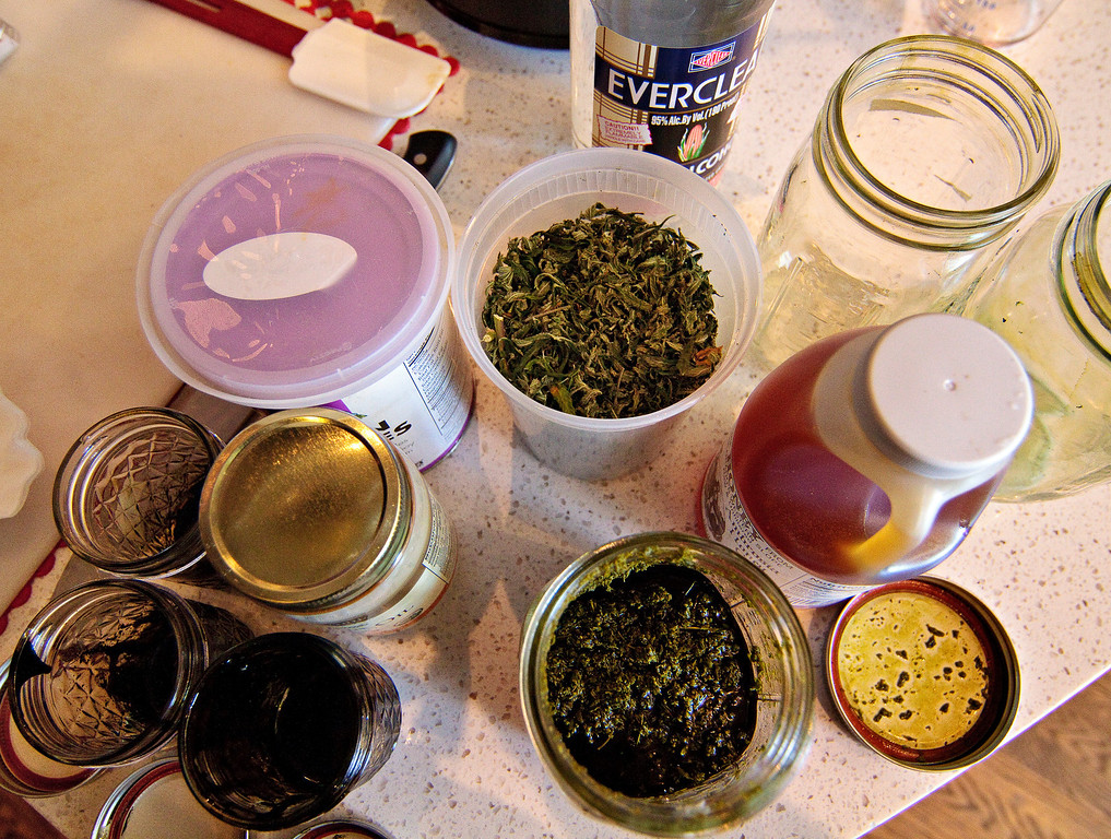 . Cannabis and ingredients for making infused cannabis are displayed during a Cannabis cooking class in Denver, Colorado, on Thursday, April 18, 2013. The cannabis is mixed with Everclear alcohol and then it is boiled until the alcohol no longer remains.  (Werner R. Slocum/MCT)
