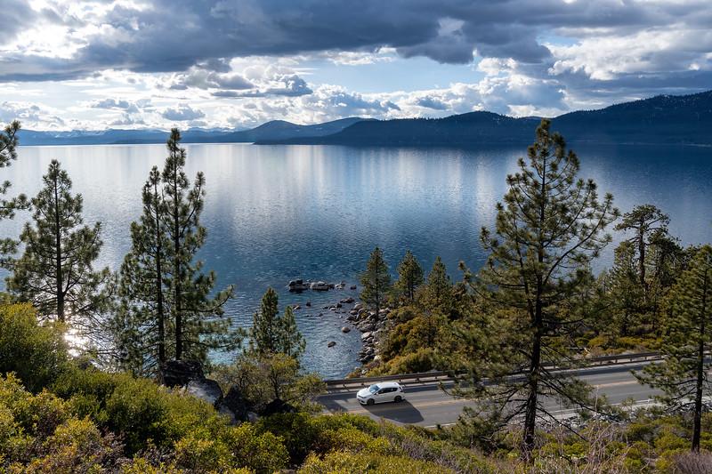 Car on road at Lake Tahoe