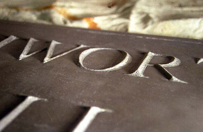 Bamber Hawes ~ Reposé lead work house sign ~ detail
