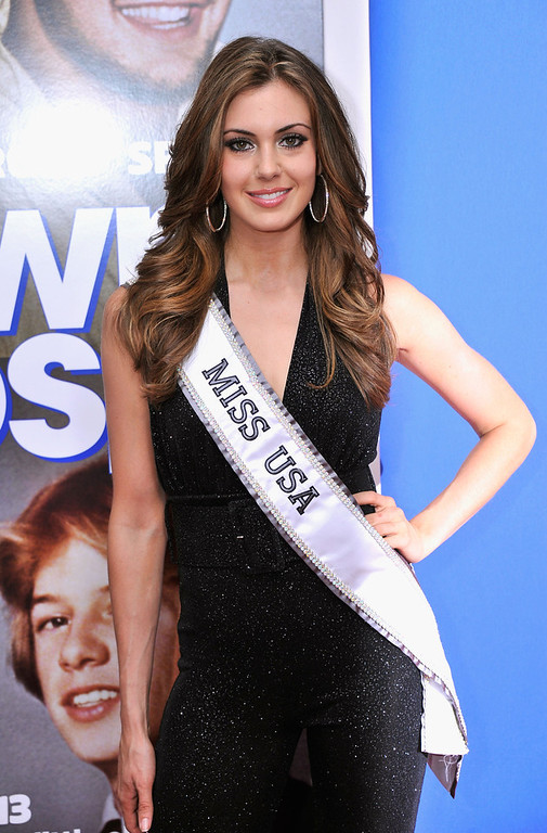 """. Miss USA 2013 Erin Brady attends the \""""Grown Ups 2\"""" New York Premiere at AMC Lincoln Square Theater on July 10, 2013 in New York City.  (Photo by Stephen Lovekin/Getty Images)"""