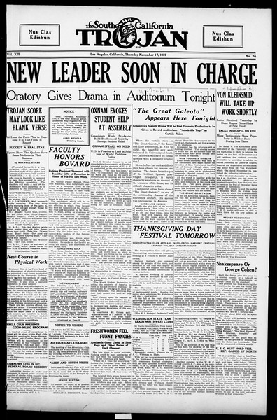 The Southern California Trojan, Vol. 13, No. 20, November 17, 1921