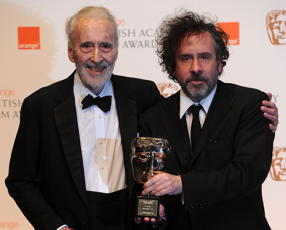 . British actor Sir Christopher Lee (L) poses for photographers with Tim Burton after receiving his British Academy of Film Award (BAFTA) for \'Academy Fellowship\'  at the Royal Opera House in central London, on February 13, 2011. (CARL DE SOUZA/AFP/Getty Images)