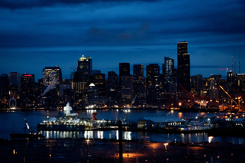 Night view of Seattle from West Seattle.