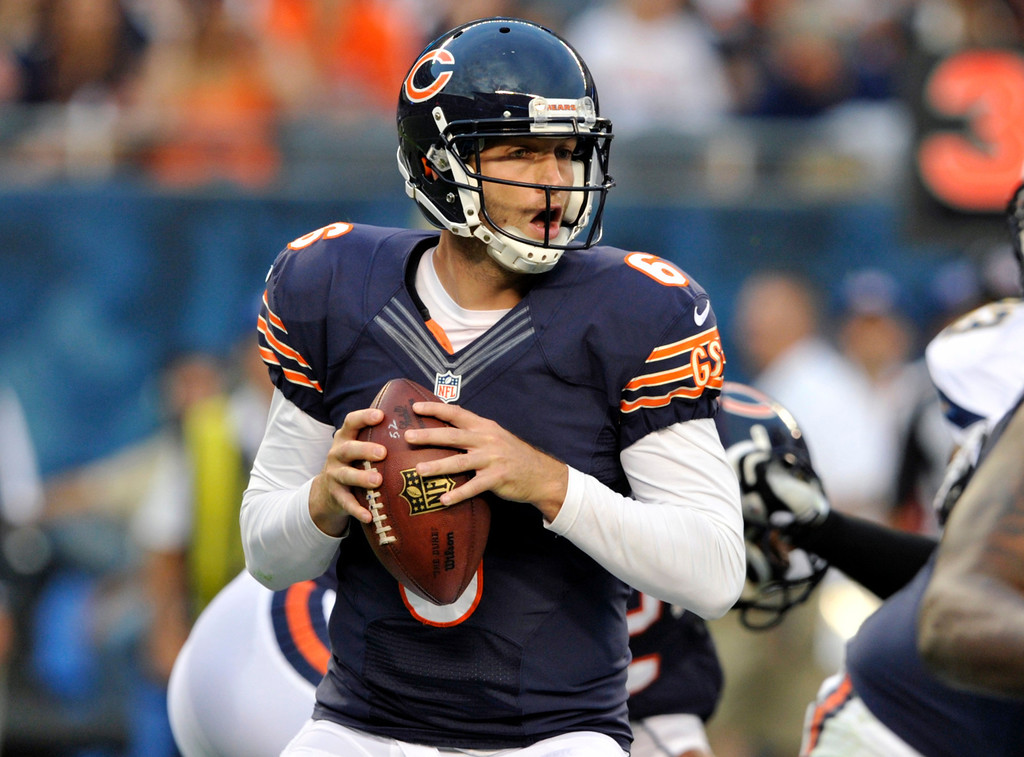 . Chicago Bears quarterback Jay Cutler (6) looks for a receiver during the first half of the preseason NFL football game against the San Diego Chargers, Thursday, Aug. 15, 2013, in Chicago. (AP Photo/Jim Prisching)