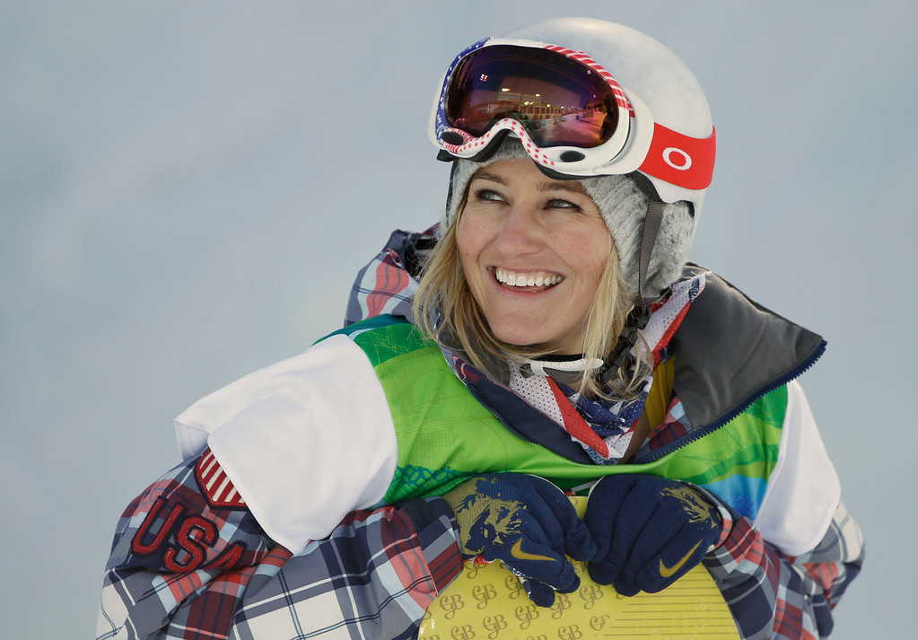 . Gretchen Bleiler of the USA smiles as she compete in the women\'s snowboard halfpipe at the Vancouver 2010 Olympics in Vancouver, British Columbia, Thursday, Feb. 18, 2010. (AP Photo/Marcio Sanchez)