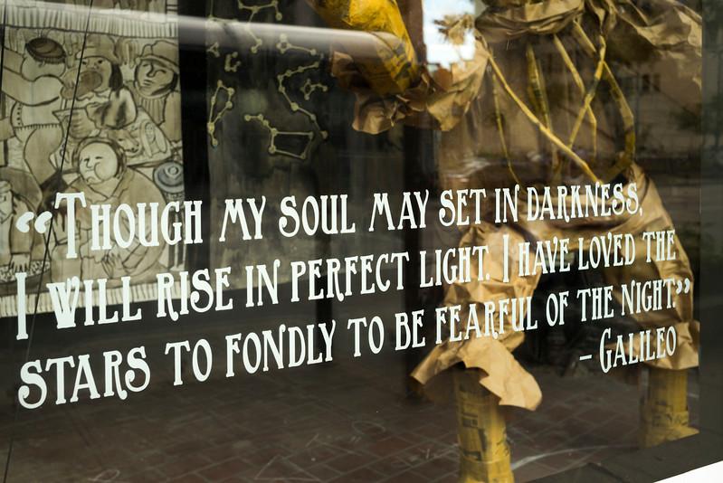Message text on glass window, Minneapolis, Hennepin County, Minnesota, USA