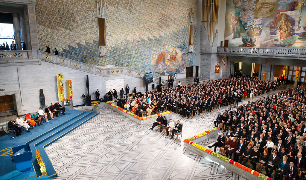 . General view of the Nobel Peace Prize award ceremony at the City Hall in Oslo, Norway, Wednesday, Dec. 10, 2014.  The Nobel Peace Prize is being shared between Malala Yousafzai, the 17-year-old Taliban attack survivor, and the youngest Nobel Prize winner ever, and Indian children\'s rights activist Kailash Satyarthi in a ceremony in Oslo on Wednesday.  (AP Photo/Heiko Junge, Scanpix)
