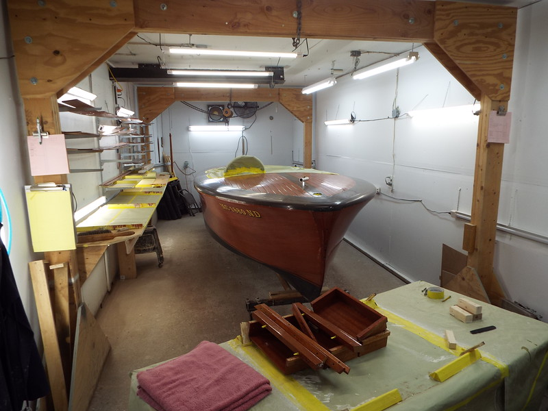 The boat is now in the finish room.