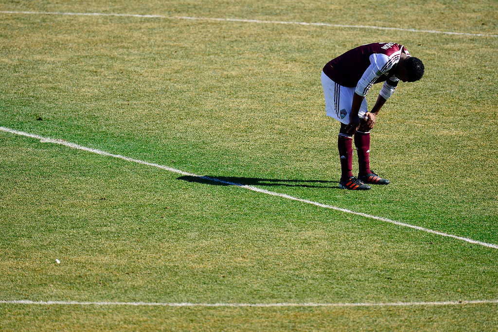 . COMMERCE CITY, CO - MARCH 10: Jose Calderon  (5) of the Colorado Rapids hangs his head after the second half of action. The Colorado Rapids lose 2-1 to the Philadelphia Union at Dick\'s Sporting Goods Park. (Photo By AAron Ontiveroz/The Denver Post)