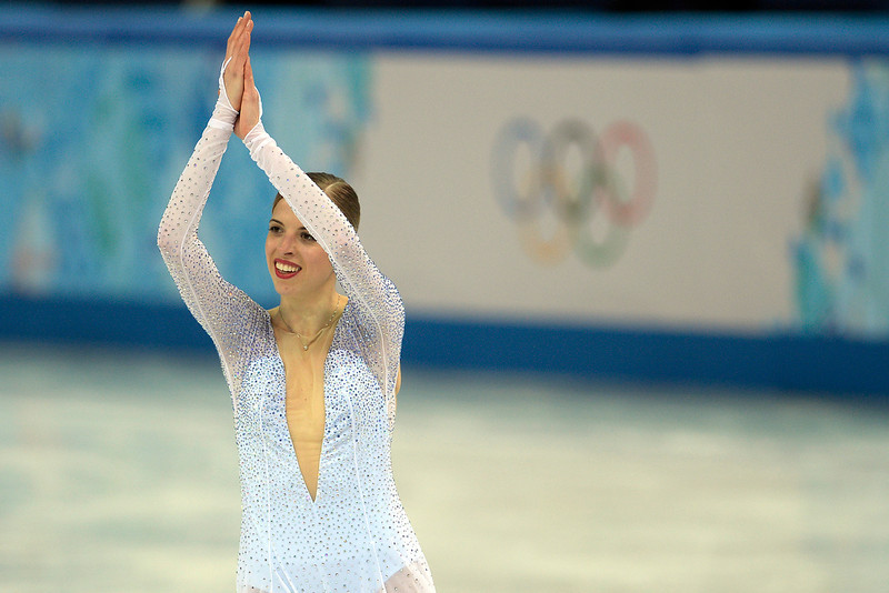 . Italy\'s Carolina Kostner claps after scoring a 70.84 during team figure skating. Sochi 2014 Winter Olympics on Saturday, February 8, 2014. (Photo by AAron Ontiveroz/The Denver Post)