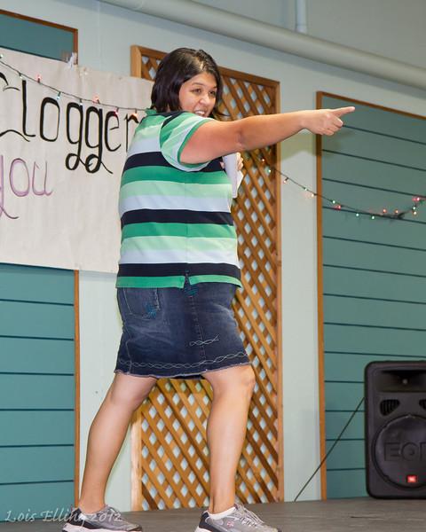 Kellee cueing at Late Harvest Stomp, 2012.