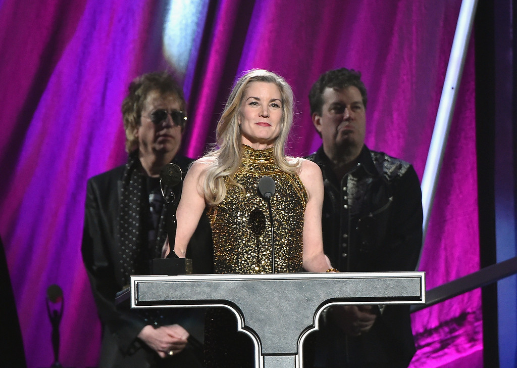 . Maura Crystal speaks onstage for inductee Lee Crystal of Joan Jett and the Blackhearts onstage during the 30th Annual Rock And Roll Hall Of Fame Induction Ceremony at Public Hall on April 18, 2015 in Cleveland, Ohio.  (Photo by Mike Coppola/Getty Images)