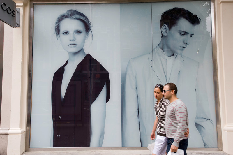 People shopping on High Street Kensington, London, United Kingdom