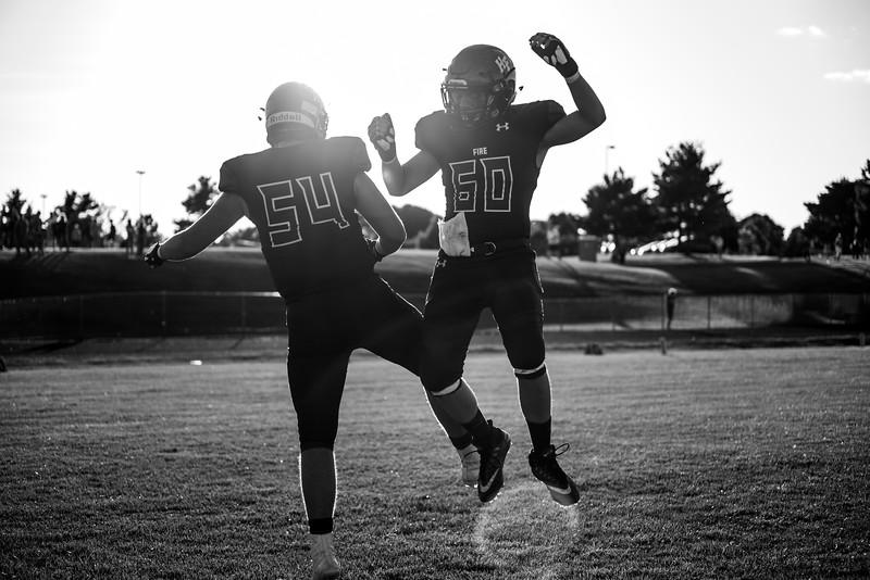 Holy Family Varsity Football vs. Mound Westonka, 8/29/19: Carson Liebeg '20 (54) & Logan Radick '20 (60)