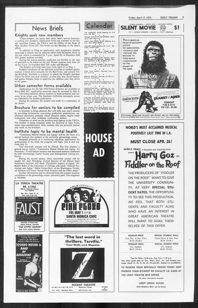 Daily Trojan, Vol. 61, No. 108, April 17, 1970