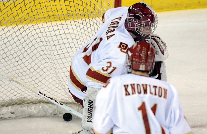 . DENVER, CO. - FEBRUARY 08: Juho Olkinuora of University of Denver #31 was scored on by Jordan DiGlando of Colorado College #14 February 8, 2013 at Magness Arena in Denver, Colorado. (Photo By Hyoung Chang/The Denver Post)