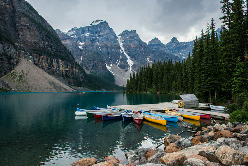 Canoes at Moraine Lake.