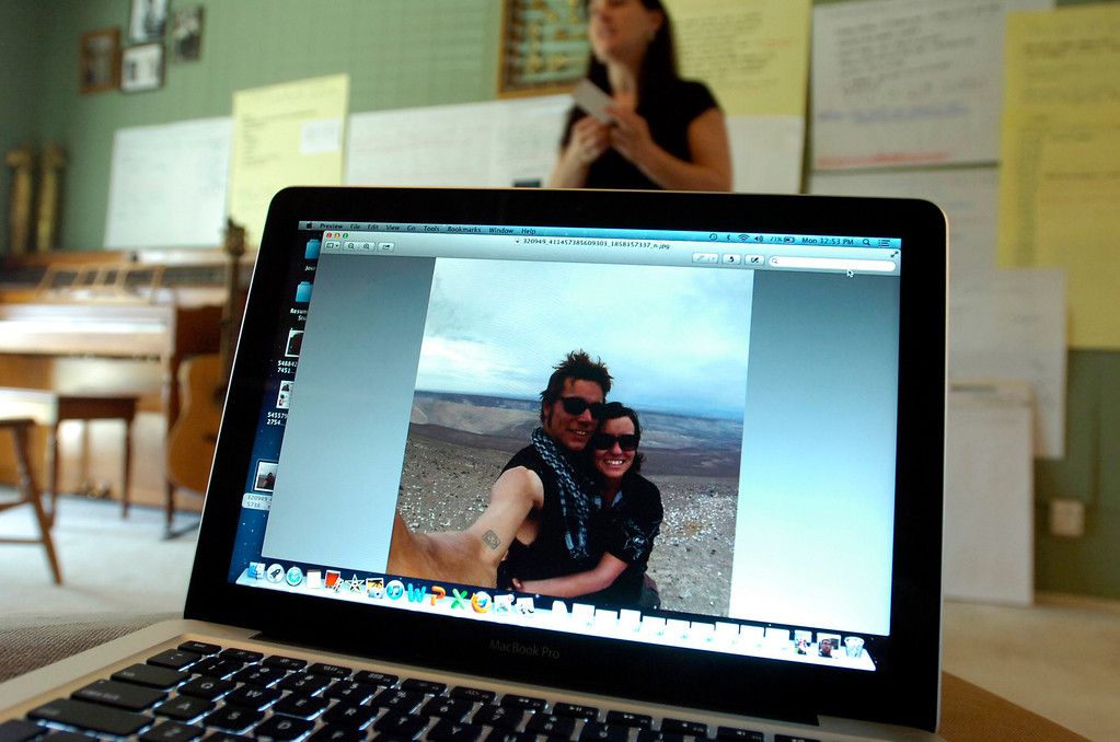 . A photo of Garrett Hand and Jamie Neal is posted to Hand\'s Facebook account on a computer at the home of Hand\'s mother Francine Fitzgerald in Concord, Calif. on Monday, Feb. 25, 2013. Hand and girlfriend Jamie Neal have not been heard from in a month after going missing during a bicycling trip in Peru. (Kristopher Skinner/Staff)