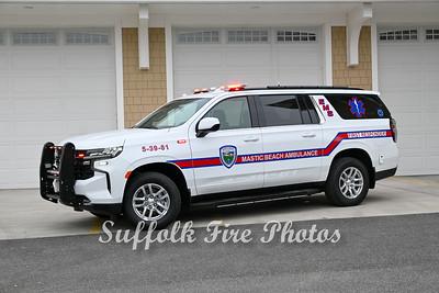 Apparatus Shoot - Mastic Beach Ambulance 2021 Chevy Suburbans, Mastic, Beach NY - 4/10/21
