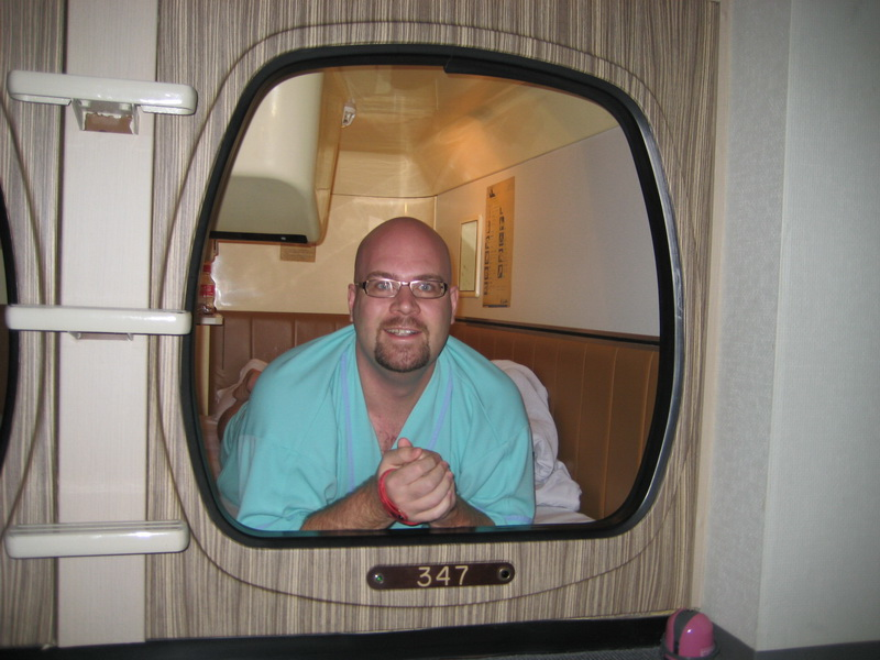 Greg in his capsule hotel