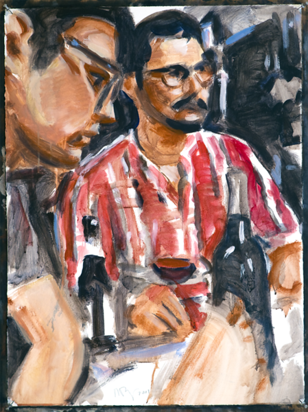 Untitled (restaurant); acrylic on paper, 22 x 30 in, 2017